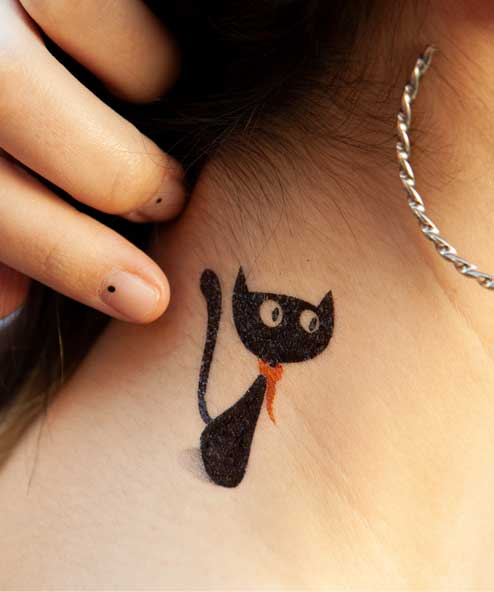 tatuagem temporária gato