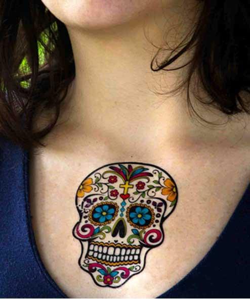 tatuagem temporária caveira mexicana