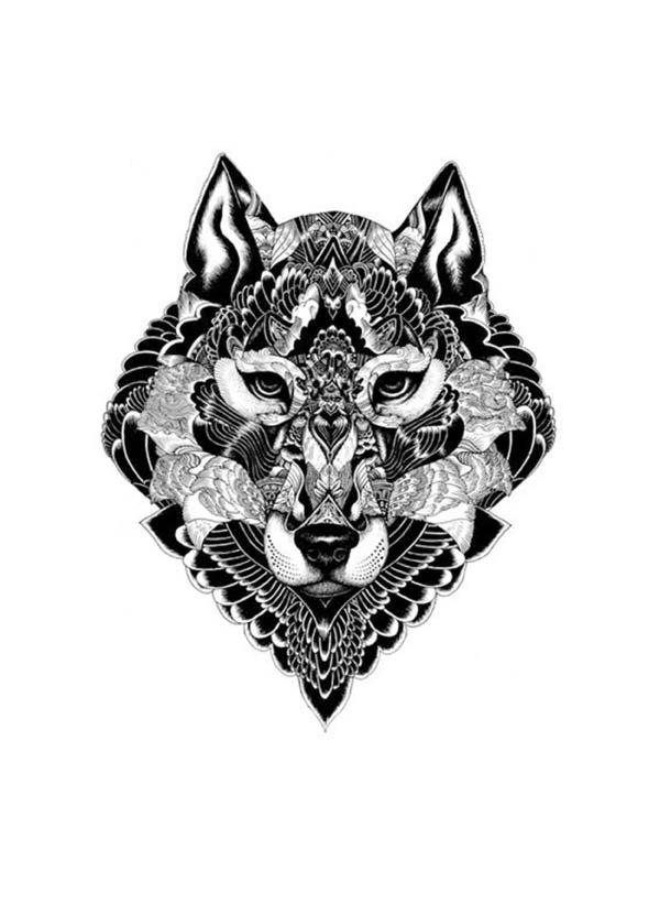 tatuagem-temporária-lobo