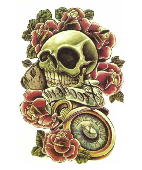 tatuagem temporaria caveira e rosas