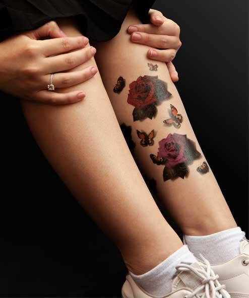 tatuagem temporária rosas