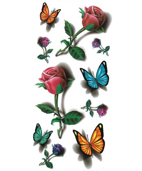 tatuagem temporária borboleta e rosas